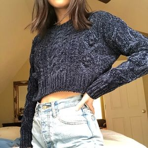 blue cable knit chenille urban outfitters sweater